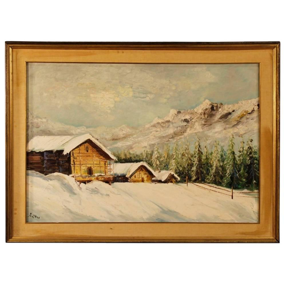 Italian Signed Painting Oil on Canvas Snowy Landscape with Houses