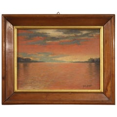 Italian Signed Painting Seascape, 20th Century