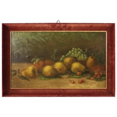 Italian Signed Painting Still Life with Fruit, 20th Century