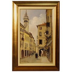 Italian Signed Painting View of the Village Oil on Canvas from 20th Century