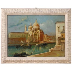 Italian Signed Painting View of Venice, 20th Century