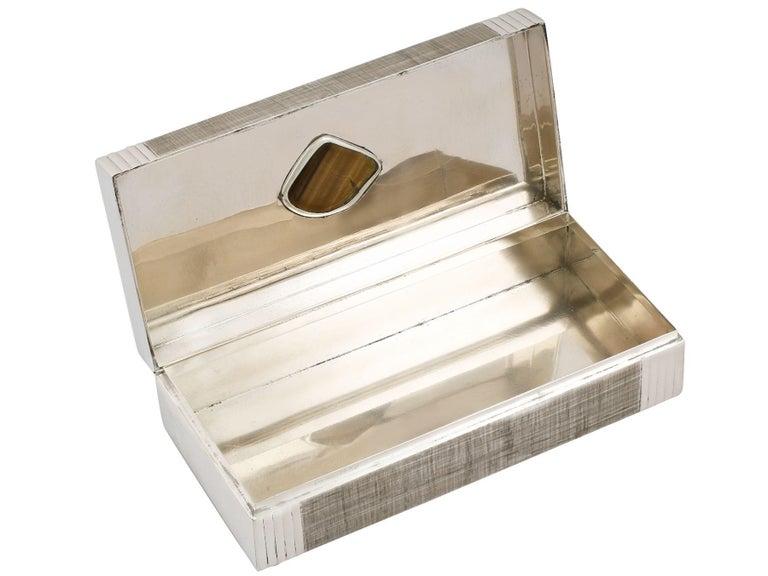 Italian Silver and Tiger's Eye Quartz Box, Vintage, circa 1970 For Sale 1