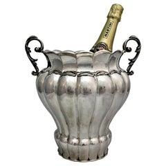 Italian Silver Art Deco Wine Cooler, 1930s
