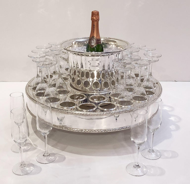 Italian Silver Champagne Service with Revolving Stand, Wine Cooler, and Glasses For Sale 5