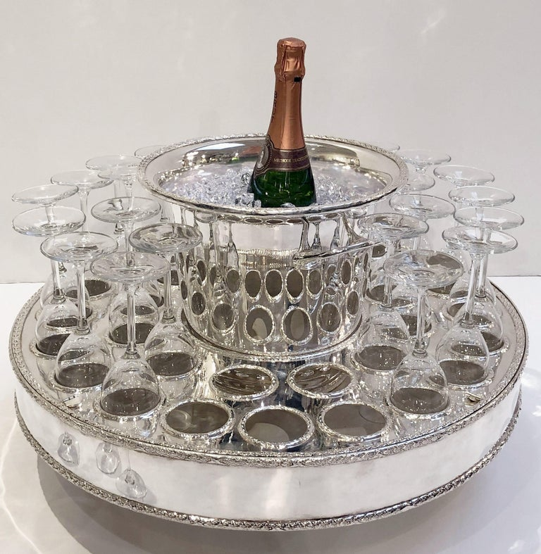 Italian Silver Champagne Service with Revolving Stand, Wine Cooler, and Glasses For Sale 6
