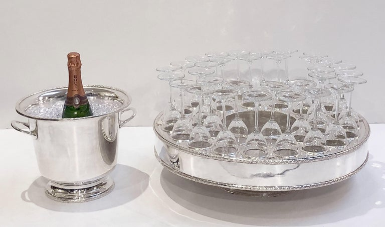 Italian Silver Champagne Service with Revolving Stand, Wine Cooler, and Glasses For Sale 9