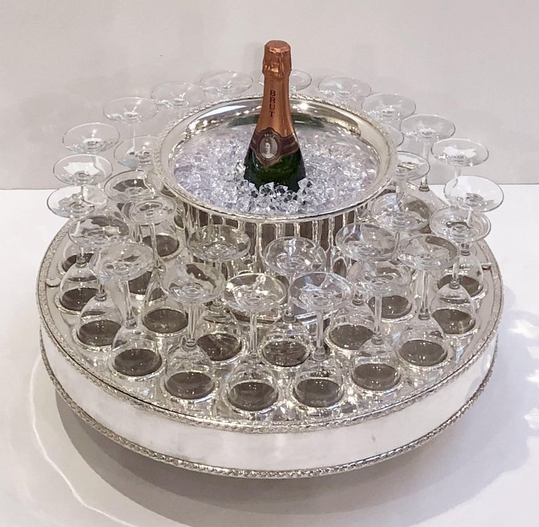 Italian Silver Champagne Service with Revolving Stand, Wine Cooler, and Glasses In Good Condition For Sale In Austin, TX