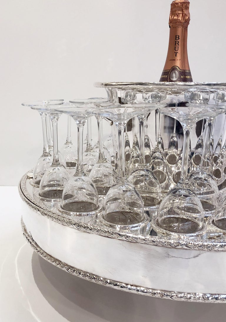20th Century Italian Silver Champagne Service with Revolving Stand, Wine Cooler, and Glasses For Sale