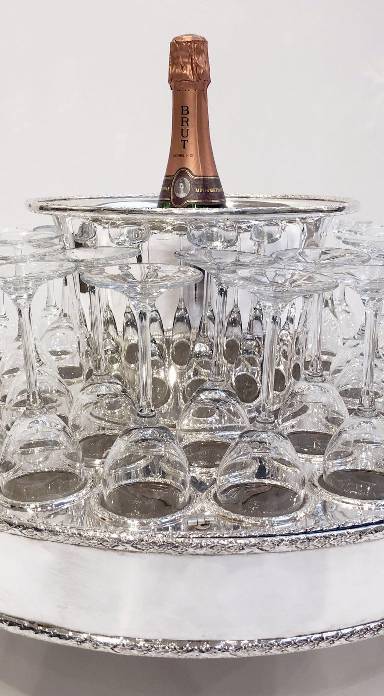 Metal Italian Silver Champagne Service with Revolving Stand, Wine Cooler, and Glasses For Sale