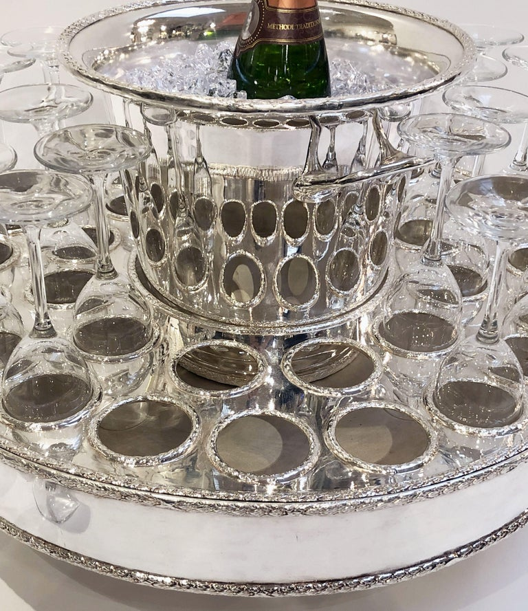 Italian Silver Champagne Service with Revolving Stand, Wine Cooler, and Glasses For Sale 3