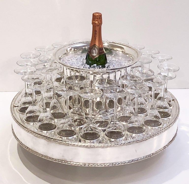 Italian Silver Champagne Service with Revolving Stand, Wine Cooler, and Glasses For Sale 4
