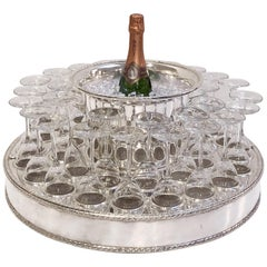 Italian Silver Champagne Service with Revolving Stand, Wine Cooler, and Glasses