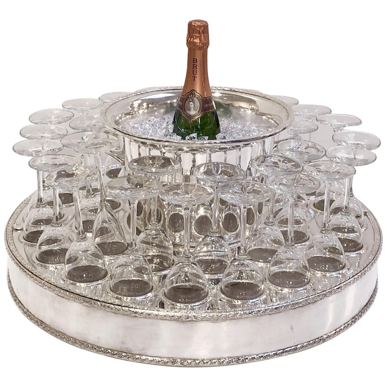 Italian Silver Champagne Service with Revolving Stand, Wine Cooler, and Glasses For Sale