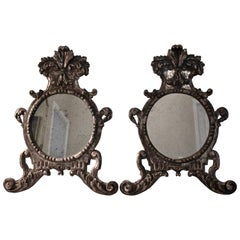 Italian Silver-Gilt Crested and Footed Baroque Revival Wall Mirrors a pair