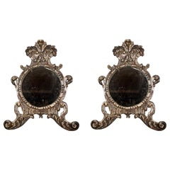 Italian Silver-Gilt Crested and Footed Baroque Revival Wall Mirrors, Pair