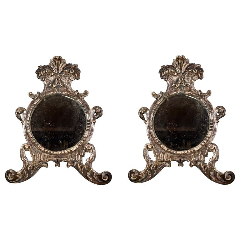 Italian Silver-Gilt Crested and Footed Baroque Revival Wall Mirrors, Pair For Sale