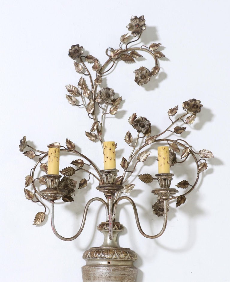 Italian Silver Giltwood and Iron Sconces In Good Condition In Los Angeles, CA