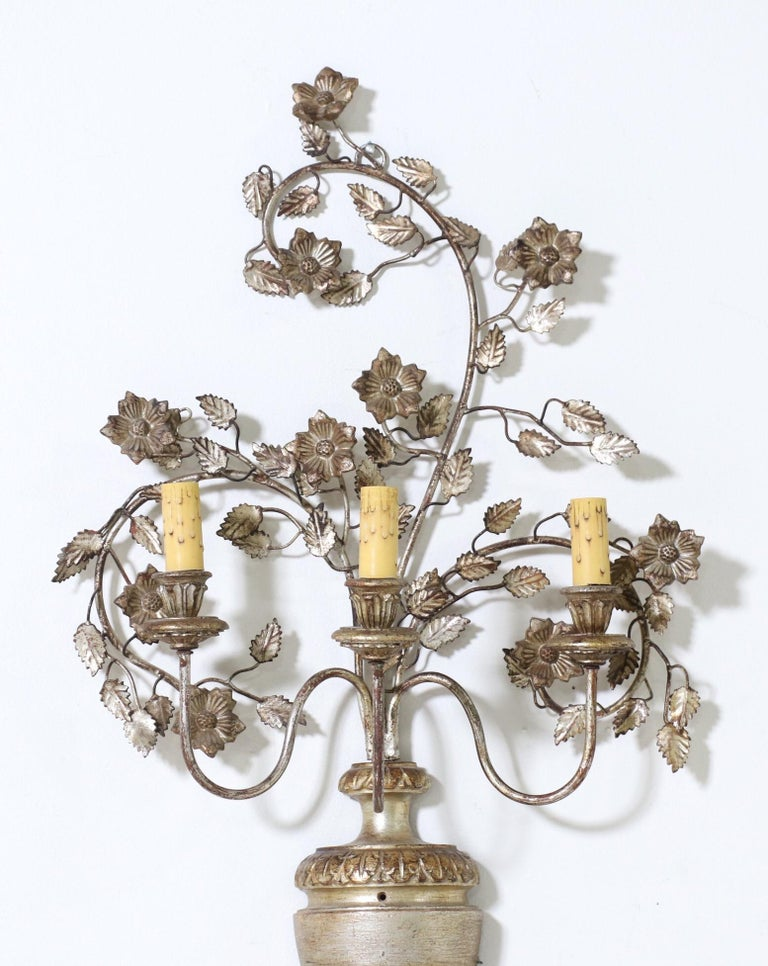 Mid-20th Century Italian Silver Giltwood and Iron Sconces