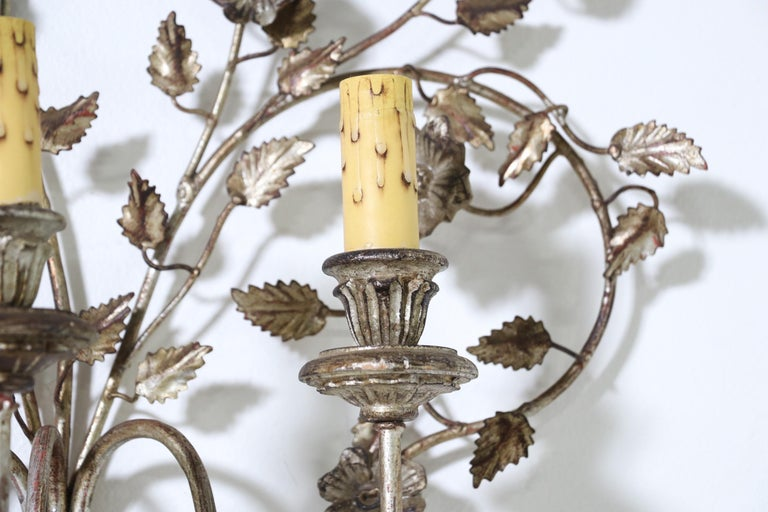 Italian Silver Giltwood and Iron Sconces 4