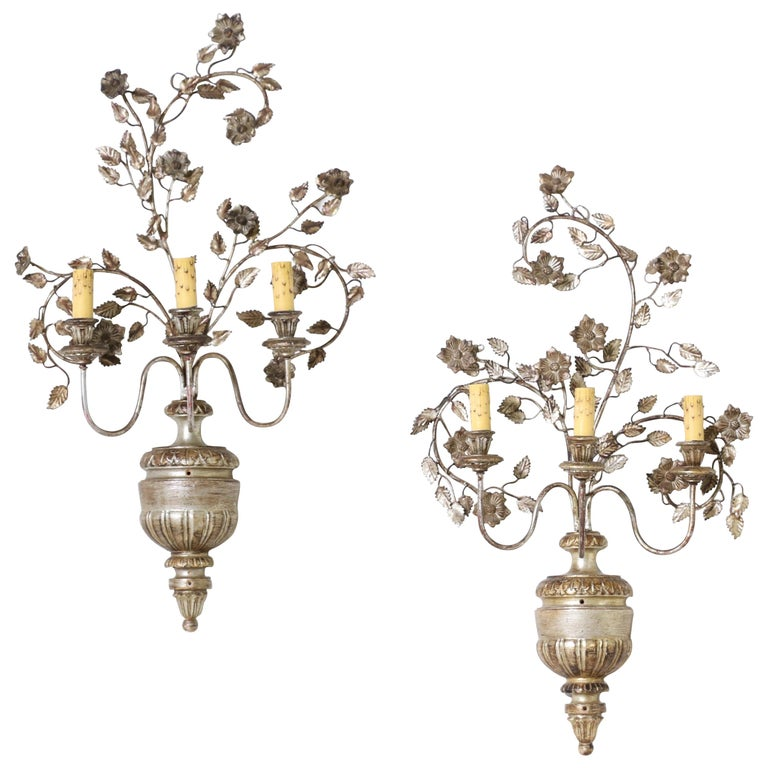Italian Silver Giltwood and Iron Sconces