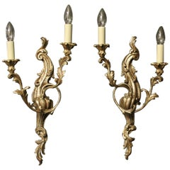 Italian Silver Giltwood Twin Arm Antique Wall Lights