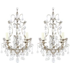 Italian Silver-Leafed and Crystal Chandeliers