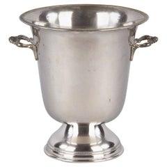 Italian Silver Metal Ice Bucket from Giuliano Bossi, Midcentury