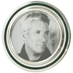 Italian Silver Plate and Green Enamel Round Picture Frame