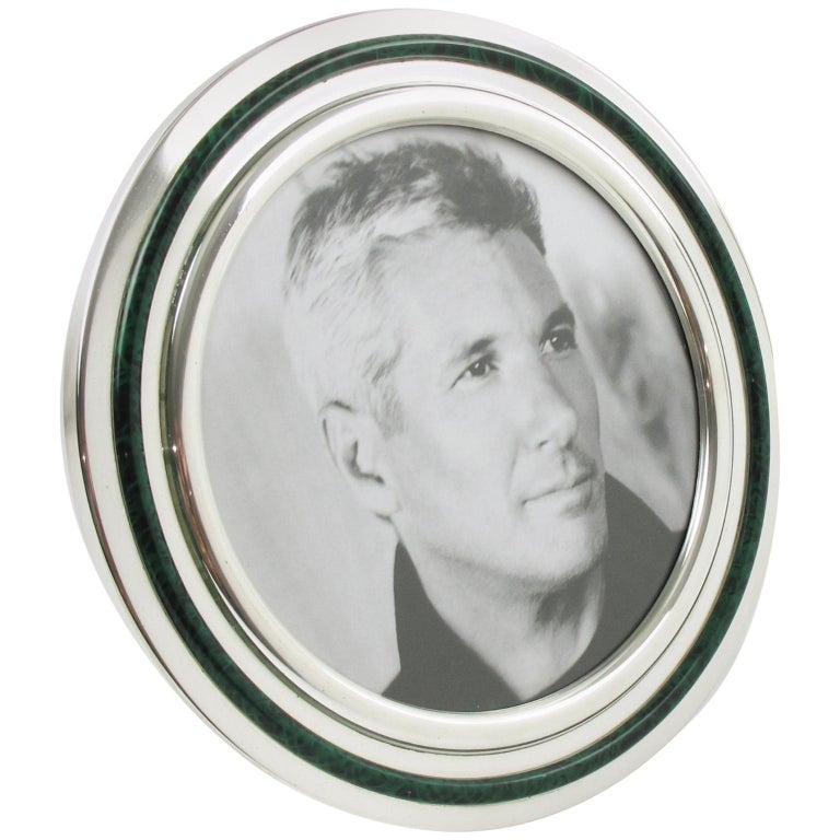 d38990eb7100 Italian Silver Plate and Green Malachite Enamel Round Picture Photo Frame  For Sale