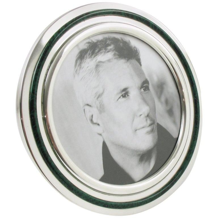 Italian Silver Plate And Green Malachite Enamel Round Picture Photo