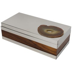 Italian Silver Plate and Wood Box with Agate Stone Slab