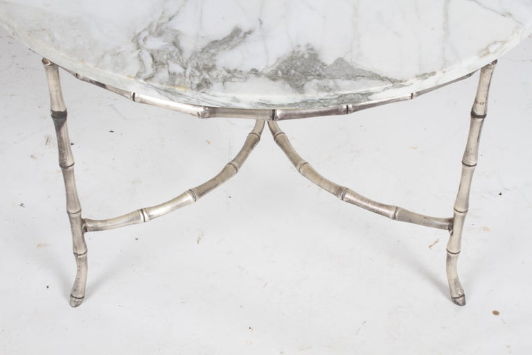 Italian Silver Plated Faux Bamboo Marble Top Coffee or Side Table For Sale 5