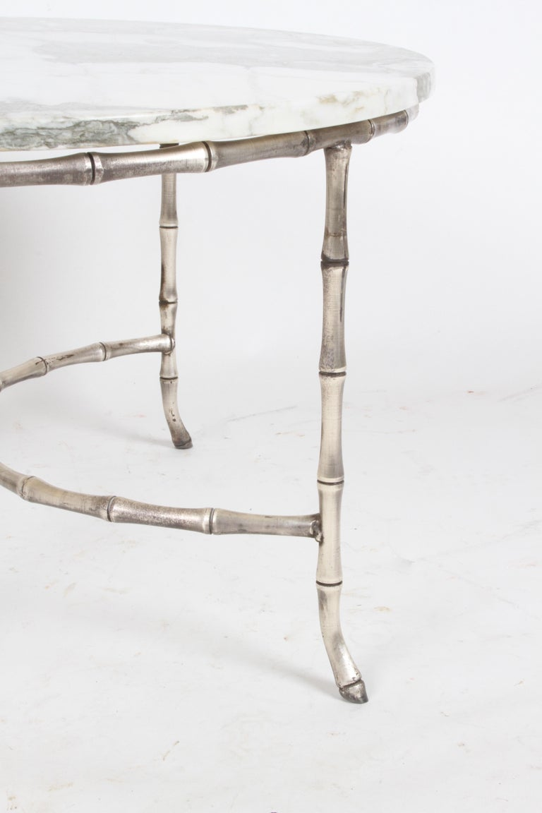 Italian Silver Plated Faux Bamboo Marble Top Coffee or Side Table In Good Condition For Sale In St. Louis, MO