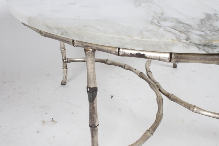 Italian Silver Plated Faux Bamboo Marble Top Coffee or Side Table For Sale 1