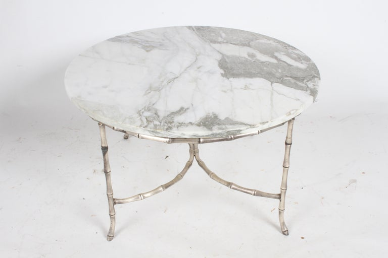 Italian Silver Plated Faux Bamboo Marble Top Coffee or Side Table For Sale 4