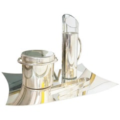 Italian Silver-Plated Metal and Glass 1970 Cocktail Set by Lino Sabattini