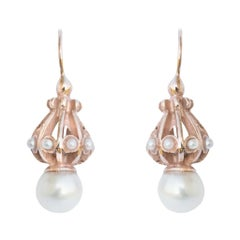 Italian Silver, Rose Gold Pearl Drop Earrings