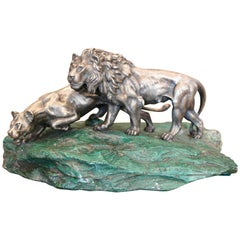 Italian Silver Sculpture of Two Lions, circa 1965
