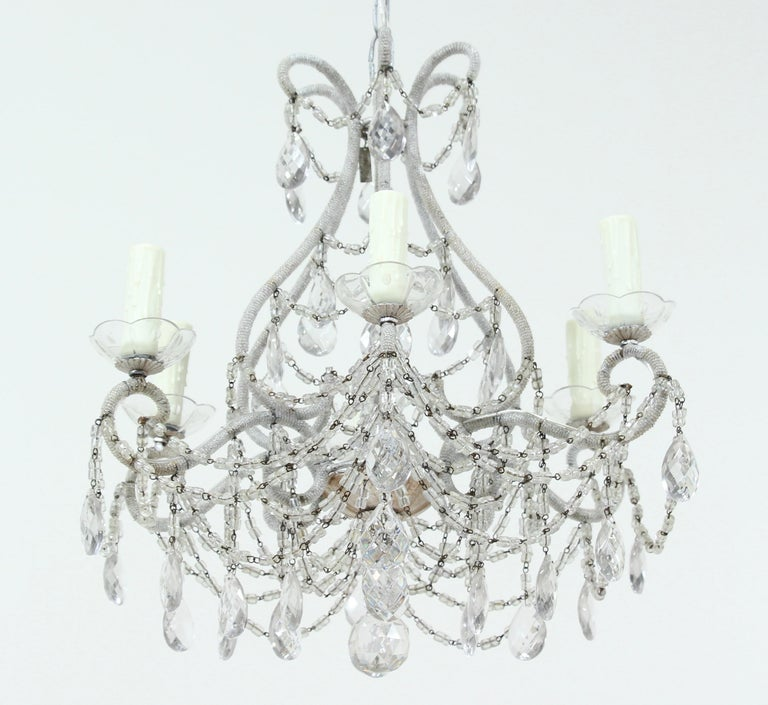 Louis XVI Italian Silver Gilt Crystal Beaded Chandelier For Sale