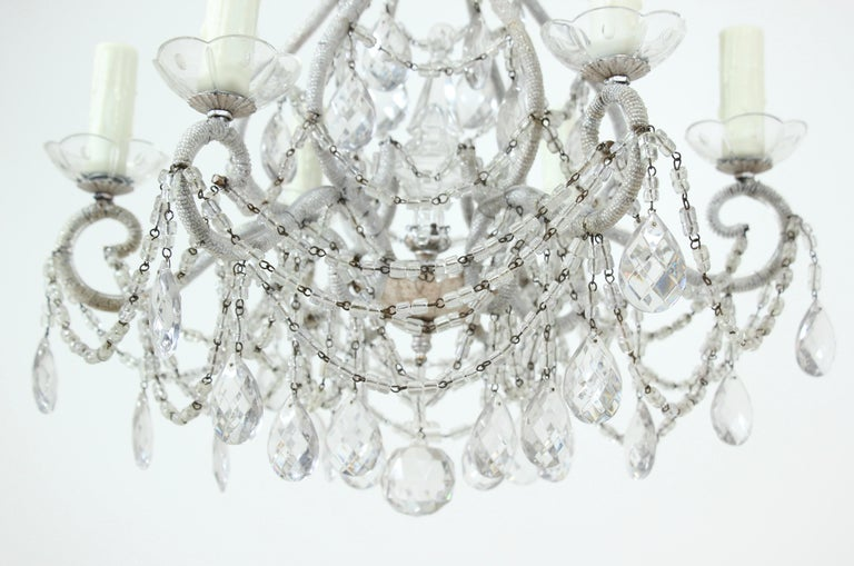 Italian Silver Gilt Crystal Beaded Chandelier In Good Condition For Sale In Los Angeles, CA