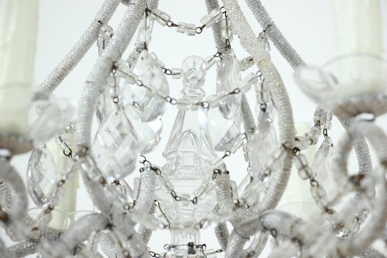 Italian Silver Gilt Crystal Beaded Chandelier For Sale 1