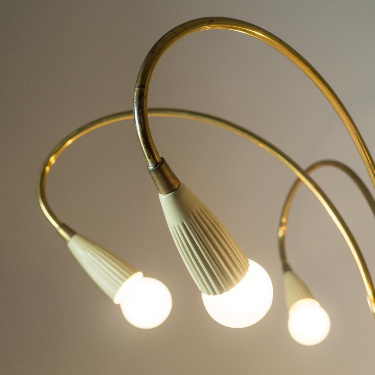 Lacquered Italian Six-Arm Brass Chandelier, circa 1950 For Sale