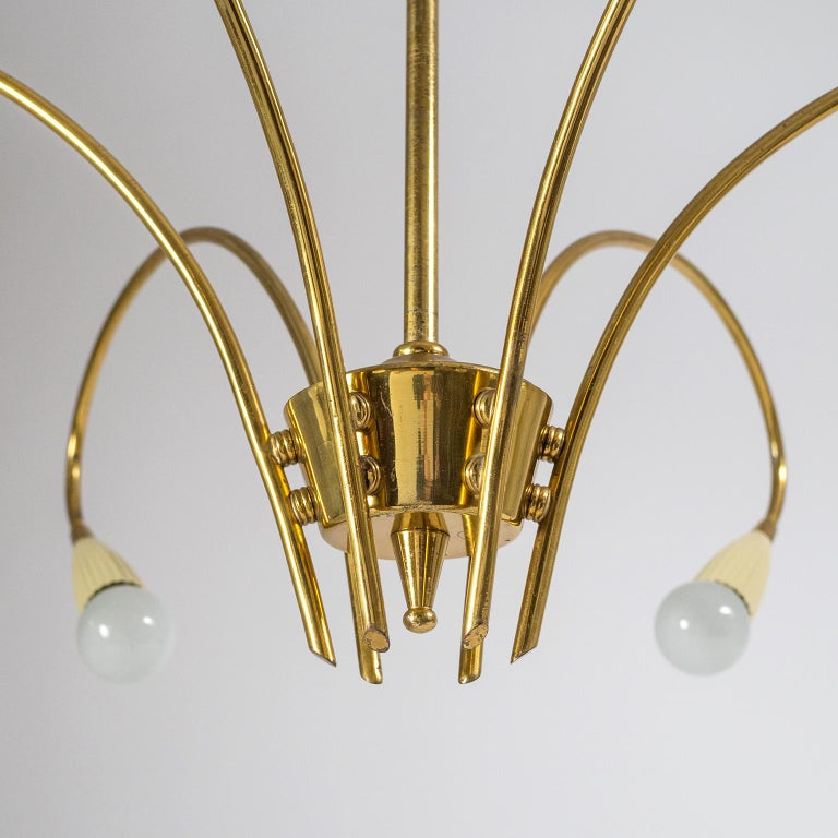 Italian Six-Arm Brass Chandelier, circa 1950 In Good Condition For Sale In Vienna, AT