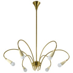 Italian Six-Arm Brass Chandelier, circa 1950