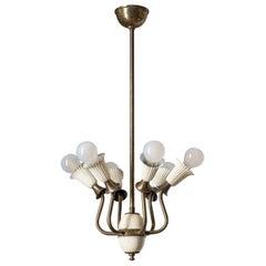 Italian Six-Arm Ceiling Light, 1940s