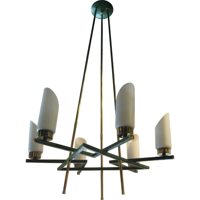 Brass Italian Six-Arm Chandelier For Sale