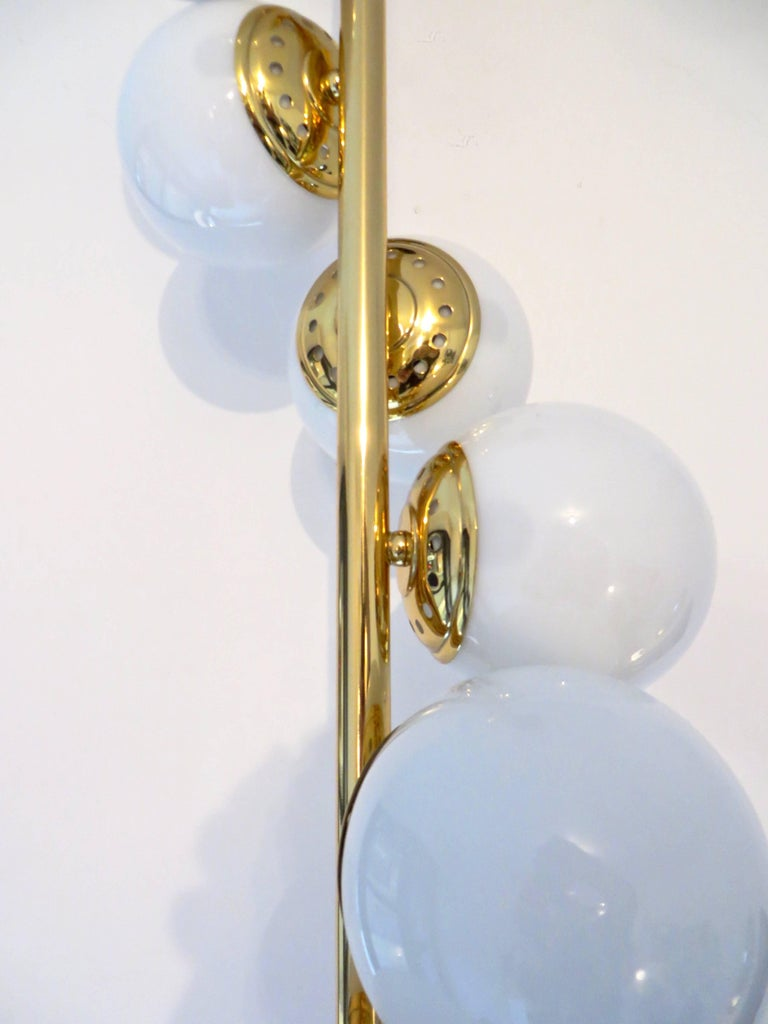 Italian Six-Light Brass and Glass Chandelier with Opaque White Globes, Stilnovo For Sale 1