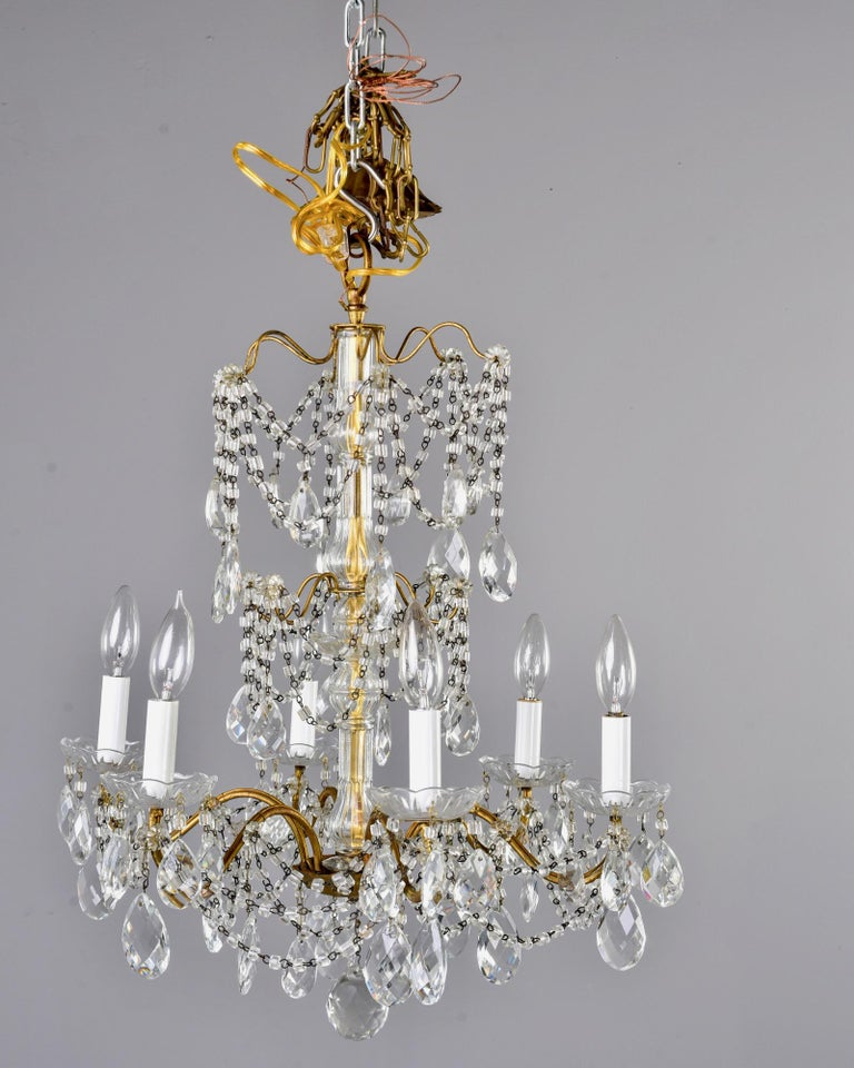 Italian Six-Light Crystal Chandelier with Large Drops For Sale 6