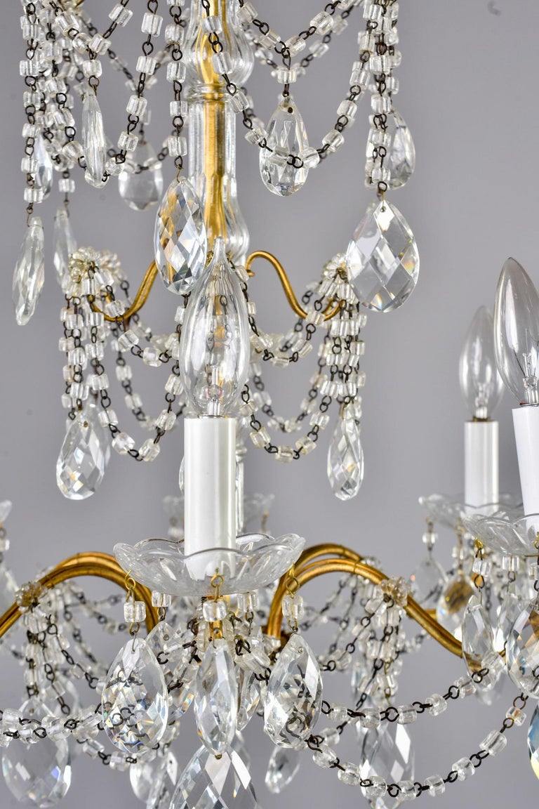 Italian Six-Light Crystal Chandelier with Large Drops For Sale 8