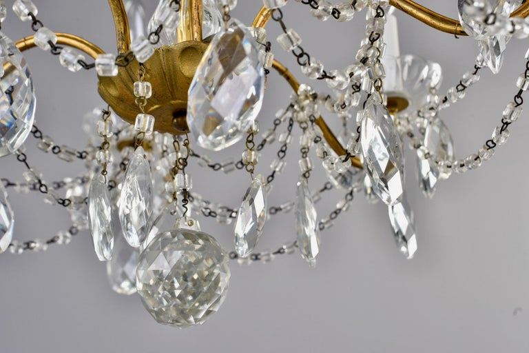 Italian Six-Light Crystal Chandelier with Large Drops For Sale 9